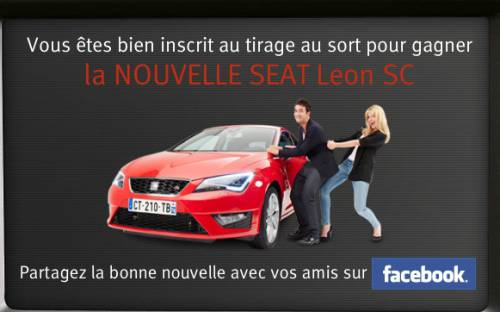 gagner une voiture nouvelle seat leon sc. Black Bedroom Furniture Sets. Home Design Ideas