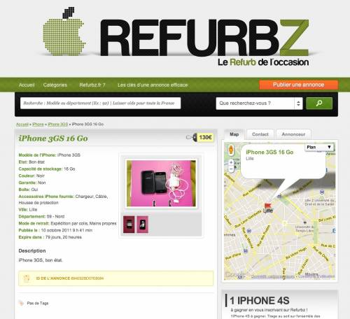 refurbz iphone 3gs à 140 euros
