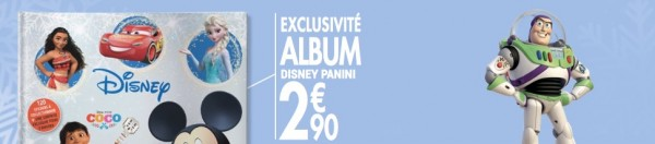 album panini disney carrefour vendu 2,9 euros en exclusivité
