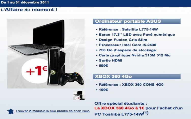 carrefour promo xbox 360 1 avec pc portable. Black Bedroom Furniture Sets. Home Design Ideas